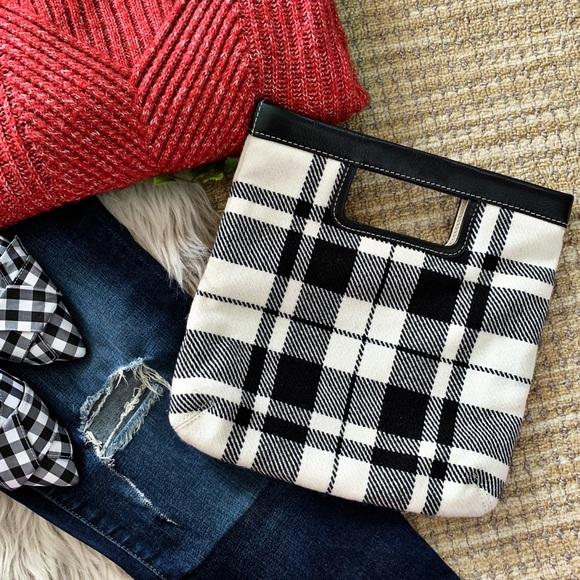 Wool Clutch in Gray Plaid